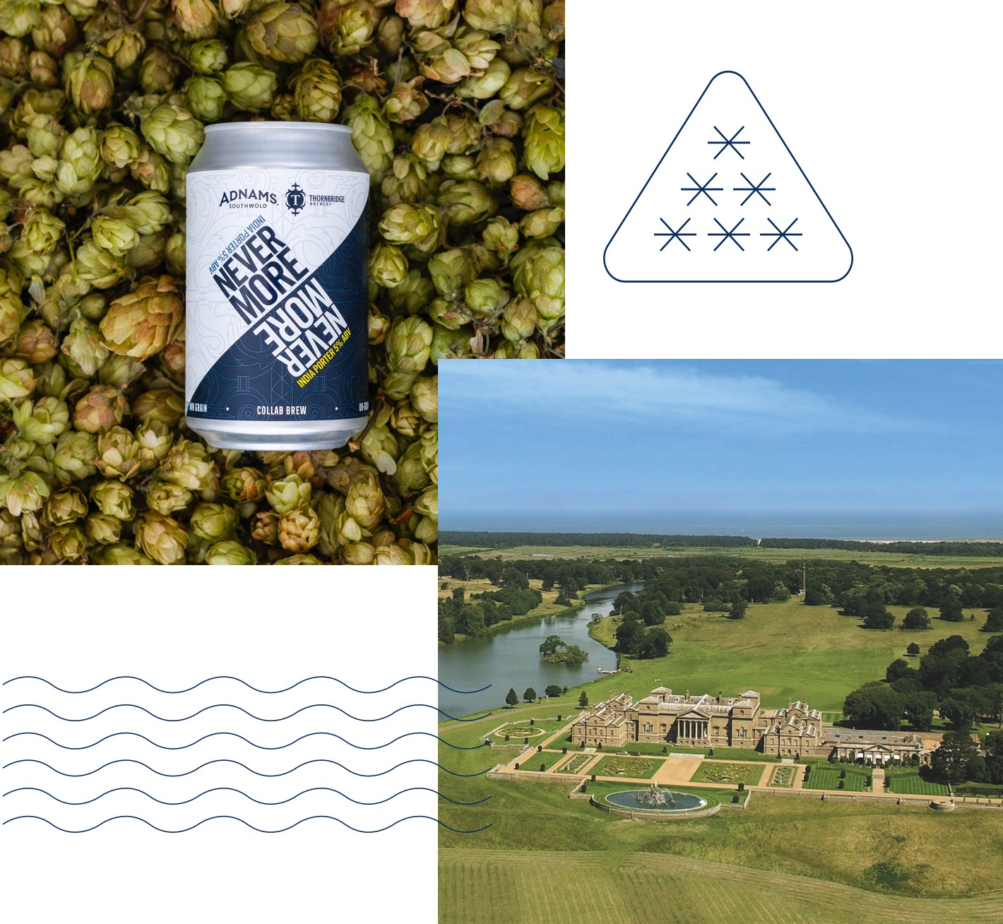 Group images of Holkham Estate and Nevermore beer can